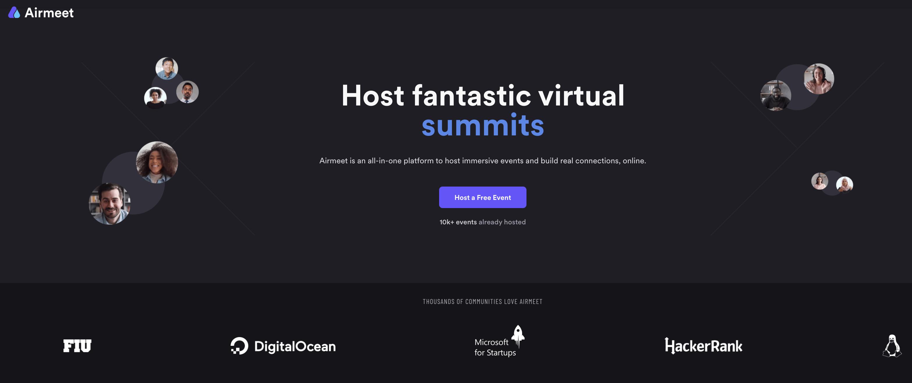 Airmeet conferences en ligne et salon interactifs - apercu