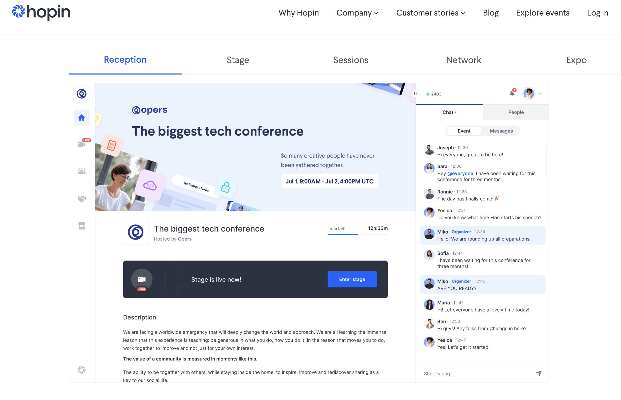 Hopin conference en ligne et webinaires - apercu