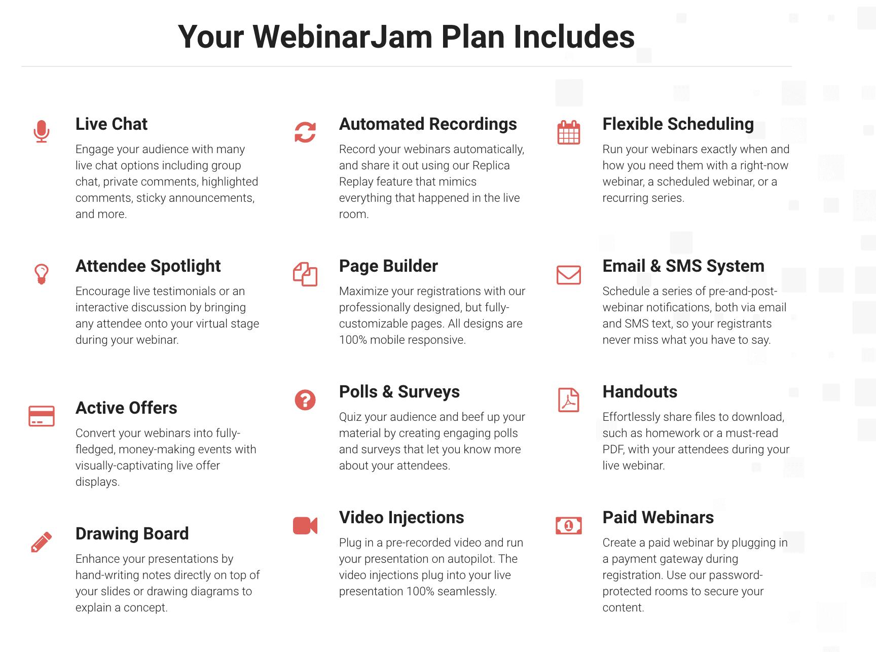 WebinarJam - fonctionnalités