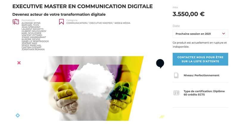 IHECS Executive master en communication digitale - Aperçu