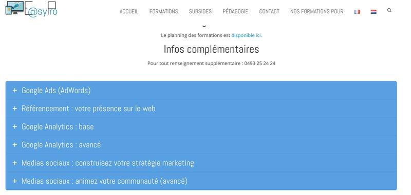 Actiris propose également diverses formations en communication, marketing et relations publiques